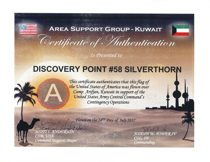 Area Support Group - Kuwait Certificate of Authentication Presented to Discovery Point Silverthorn