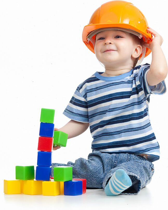 Kid wearing construction hat attending daycare in marietta
