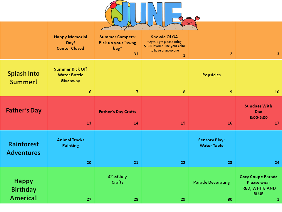 June Calendar Events : June calendar of events