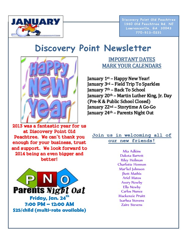 Discovery Point Old Peachtree Newsletter Page 1