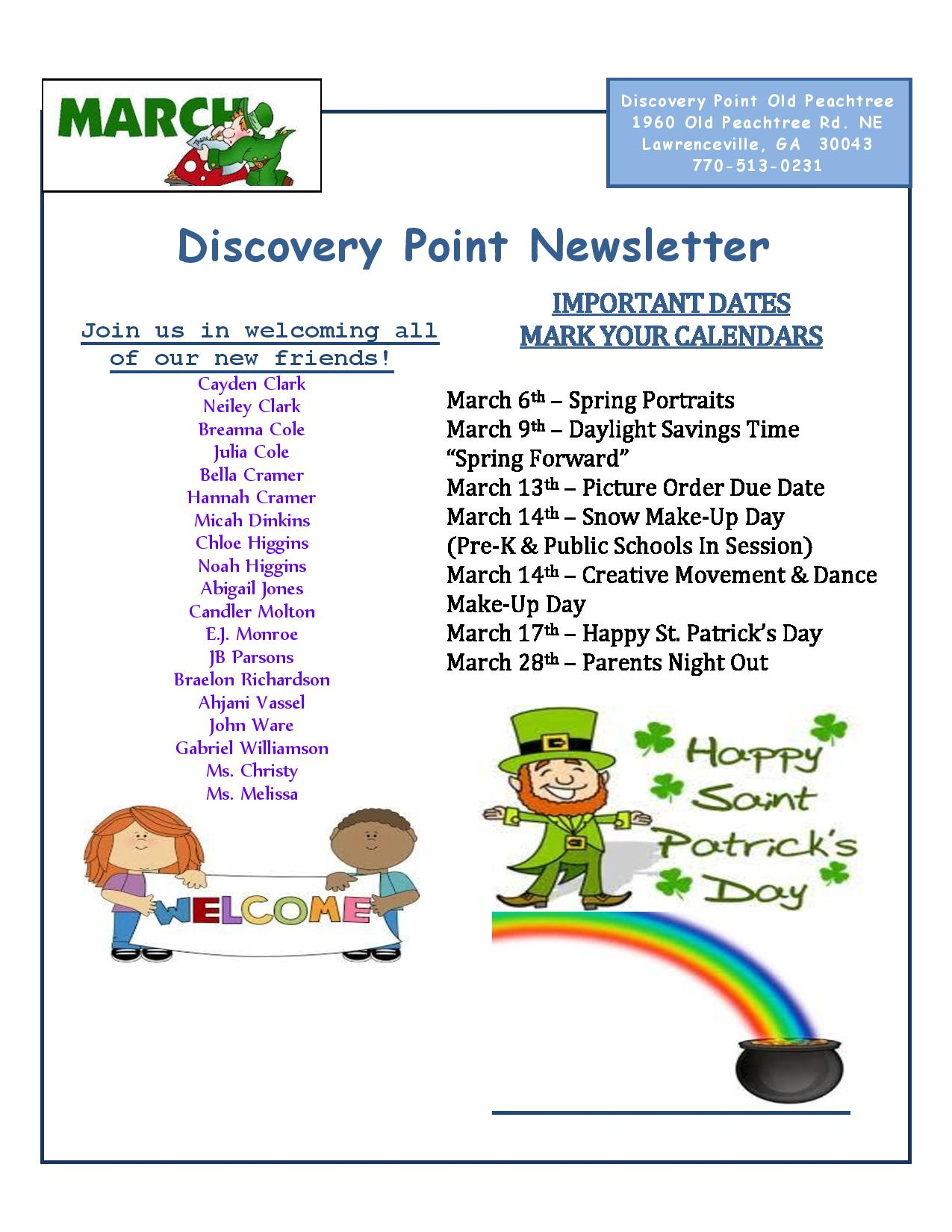 Discovery Point Old Peachtree March Newsletter Page 1