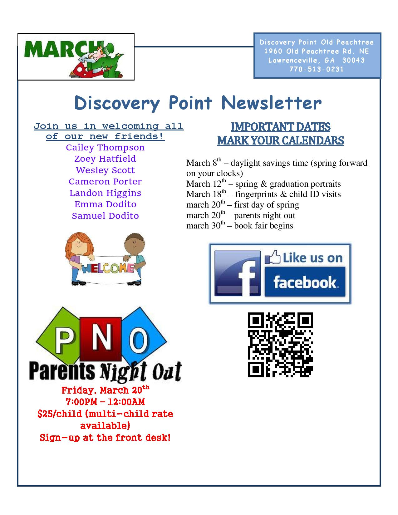 Discovery Point Old Peachtree March 2015 Newsletter Page 1