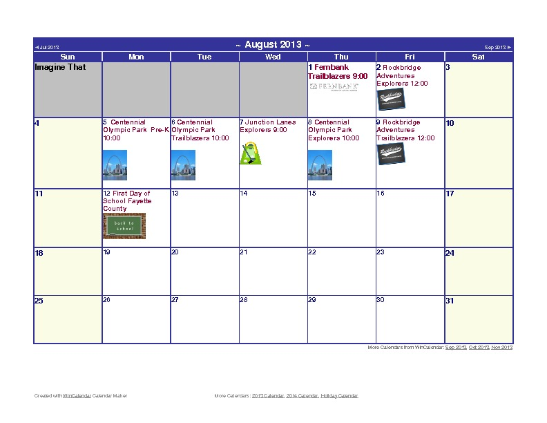 Discovery Point Kings Mill Summer Camp August 2013 Calendar
