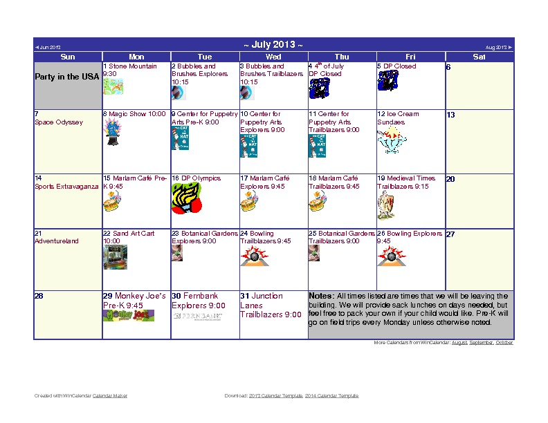 Discovery Point Kings Mill Summer Camp July 2013 Calendar