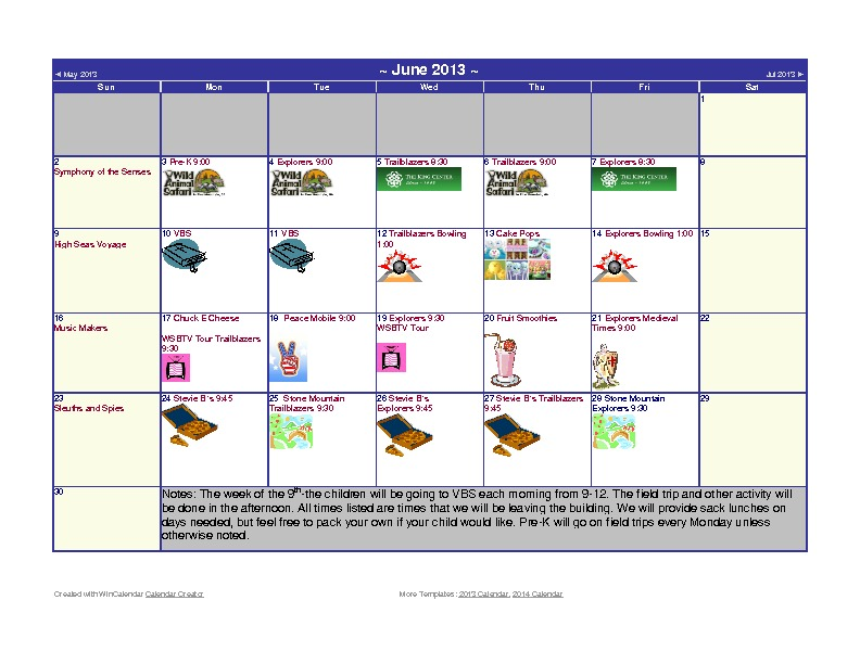 Discovery Point Kings Mill Summer Camp June 2013 Calendar