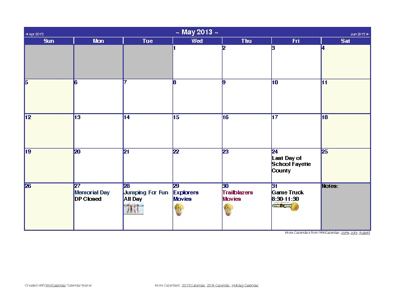 Discovery Point Kings Mill Summer Camp May 2013 Calendar