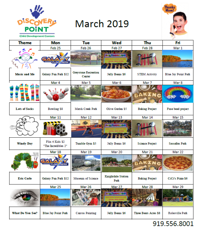 discovery point march trackout calendar