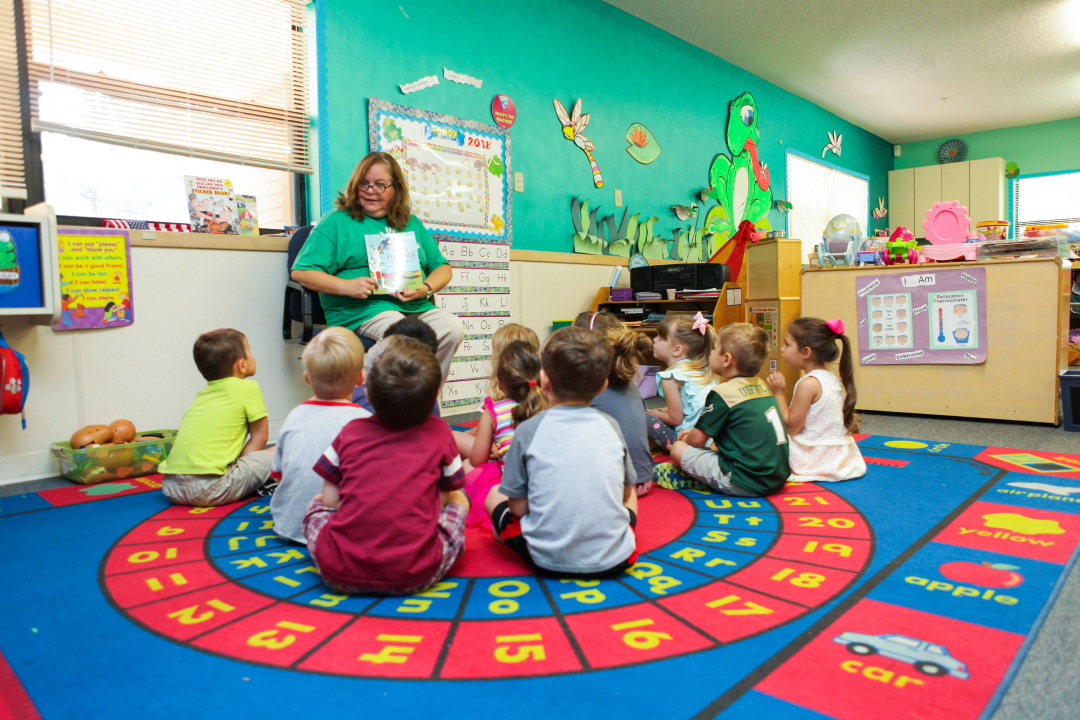 A teacher providing educational child care in Cumming