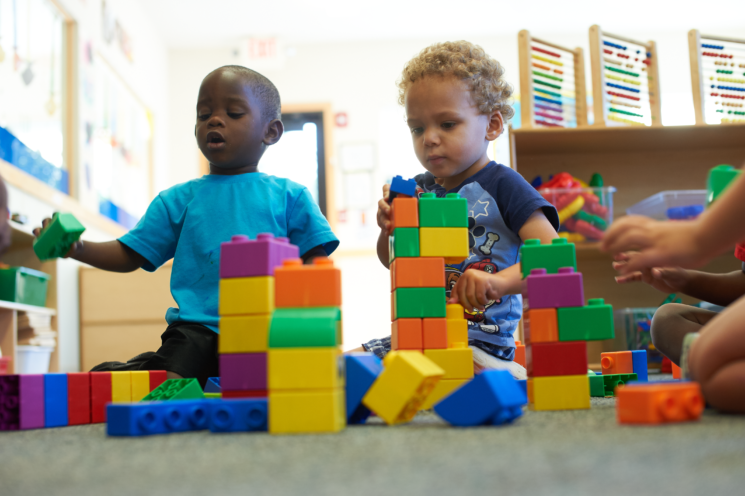 children playing with blocks at full time daycare in Harrison
