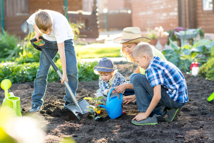 group of adults and children planting in garden