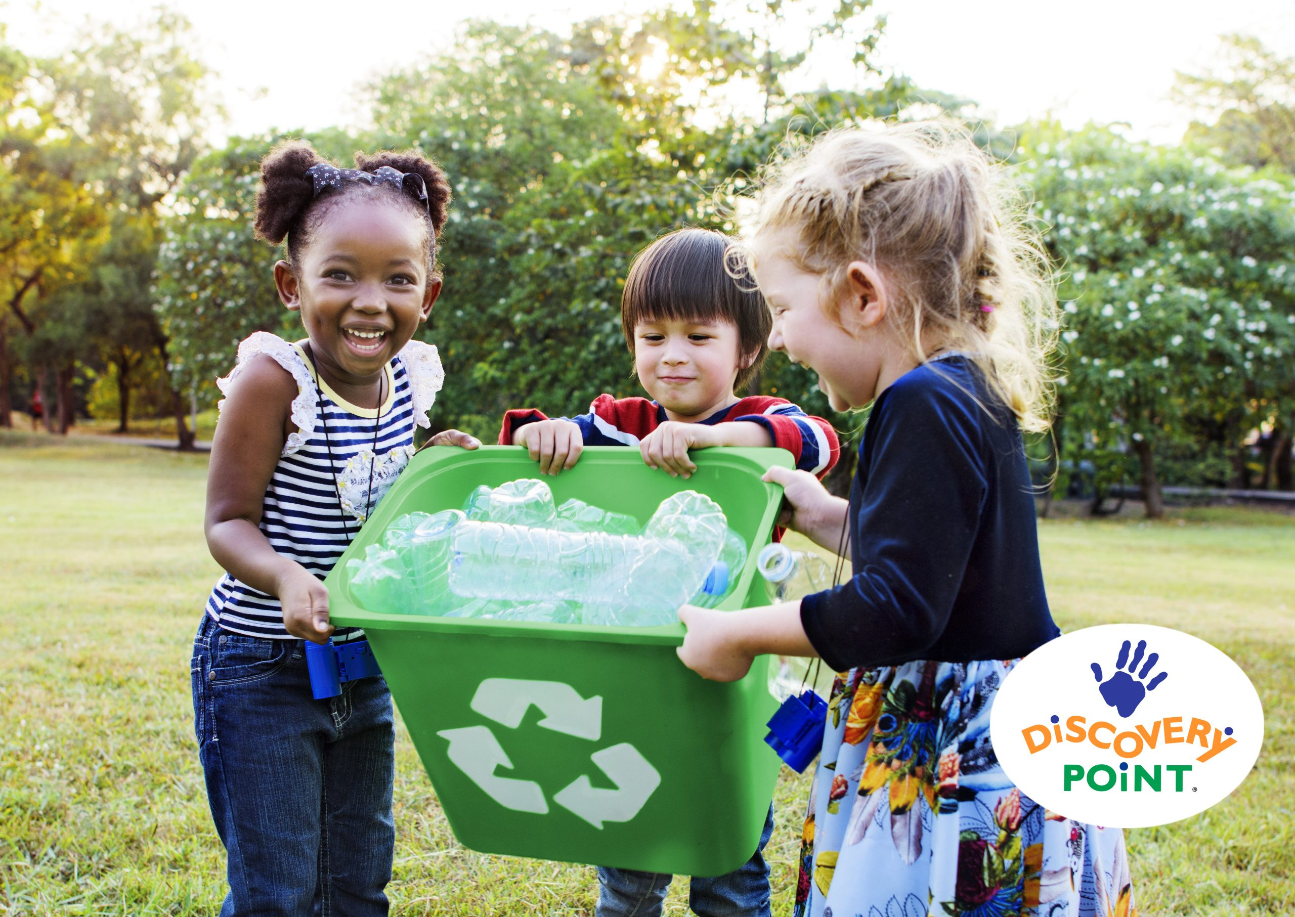 volunteering with kids, three children recycle plastic